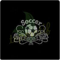 Bling soccer MOM custom design rhinestone transfer for garment,Clear crystal motif