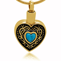 Hot Sell Funeral Memorial Jewelry Stylish Stainless Steel Natural Turquoise Stone Heart Shape Cremation Keepsake Urn Pet Pendant
