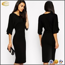 2015 wholesale girls spring Bodycon Kimono Sleeve Round neckline office young designer one piece party dress