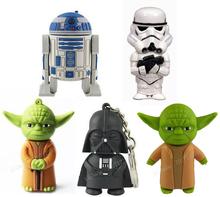 5PCS /Lot Free shipping Selling!Wholesales New Cartoon Star wars Series models usb 2.0 memory flash stick pen thumbdrive/disk