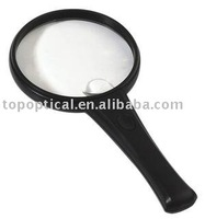 Round shape and handheld plastic 2 LED magnifier