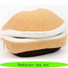 Non slip pet dog beds, hot sale covered dog bed, hamburger dog bed