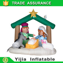 Popular sell christmas decor 2.2m Lx1.5m H inflatable nativity Christmas sets