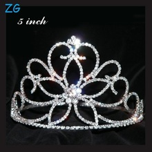 Shinning Crystal Bridal Flower Tiara beauty pageant crown for girls