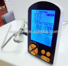 digital meat thermometer with timer/alert/LCD for BBQ/Kitchen/cooking
