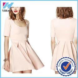 New fashion ladies clothing Pink Dress Pleated light pink Mini Dress Elegant Casual dresses