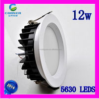 2014 new design IP33 12w 960lm smd5630 2800-6500k led downlight price