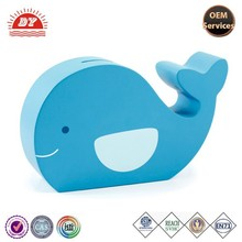 OEM blue custom made plastic vinyl Dolphin coin bank