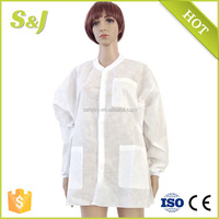 White SMS Dental Medical Full Length Lab Coat/Jacket with Knit Cuff and Collar