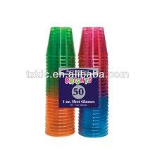 Assorted néon. plastique dur shot verre 1- capacité once