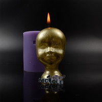 New Arrivals Nicole LZ0149 Halloween Baby Doll Head Silicone Soap And Candle Moulds DIY Soap Forms