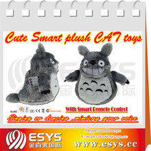 Electronic walking and nodding cat with mouth moving and tail wagging, animated and battery operated stuffed animal plush toy