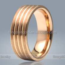 Best Price Plated Rose Gold Tungsten Carbide Men Rings High Quality Rose Gold Plated Groove Wedding Rings
