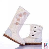 Wholesale cheap price white sheepskin crochet innovation girls winter snow long boots plus buttons