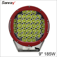 """Red black round 9"""" 185w 4wd spot led driving work light"""