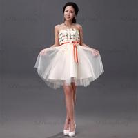 LF011 mellow latest design sequined flower appliqued evening dress