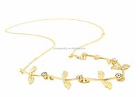 H798-336 gold chain headband women diamante crystal leaf headpieces