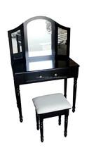 black french style dressing table with hocker and mirror /Black Wooden Dresser with Mirror/Schminktisch & Hocker