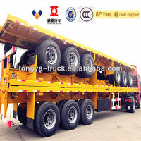 40ft container 3 Axle Flatbed Semi Trailer Or Semitrailer Truck With Container Locks For Sale