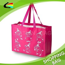 Laminated Non Woven Pink Color Shopping Tote Bag
