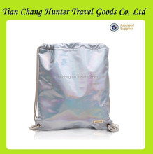 Fashion bright skin shoulder traps drawstring bag for travel or shopping