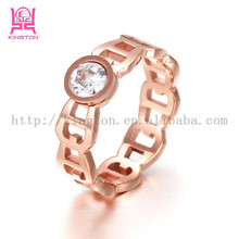 fashion stainless steel rose gold popular fashion ring jewelry in europe made in china