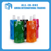 2015 wholesale top quality printed foldable water bottle,portable folding sports drinking water bag