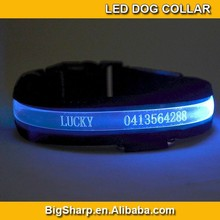Wholesale glow LED pet Customized collar carved lettering and simple pattern dog tag chain flashing dog collar dog ID collar