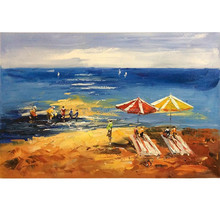 Beautiful oil painting boats and beach on canva