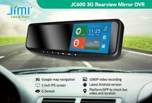 JIMI newest 3g andriod wifi smart rearview mirror gps navigation security camera system