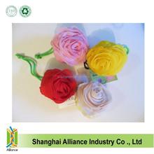Rose shape nylon eco-friendly folding shopping handle bags Reusable promotional Tote Bag