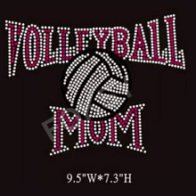 Volleyball mom rhinestone wholesale iron on letter appliques