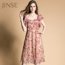 2015 glamorous junoesque printed short sleeve crew swing decorative straps for the dress