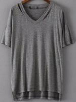 T-shirts Tops fashion women girl clothes V Neck Dip Hem Hollow Grey T-shirt Tshirt