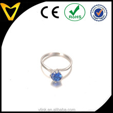 925 Sterling Silver Jewelry Wholesale Platinum Plated Sterling Silver Blue Zirconia 2cttw Round Solitaire Engagement Ring