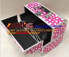 Pink Aluminum Makeup Vanity Train Beauty Case Cosmetic Jewelry Bag