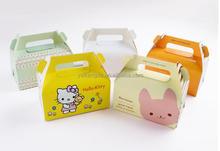 Cheap price cute paper cake box, carry handle paper cake box with different color, paper cake box factory wholesale
