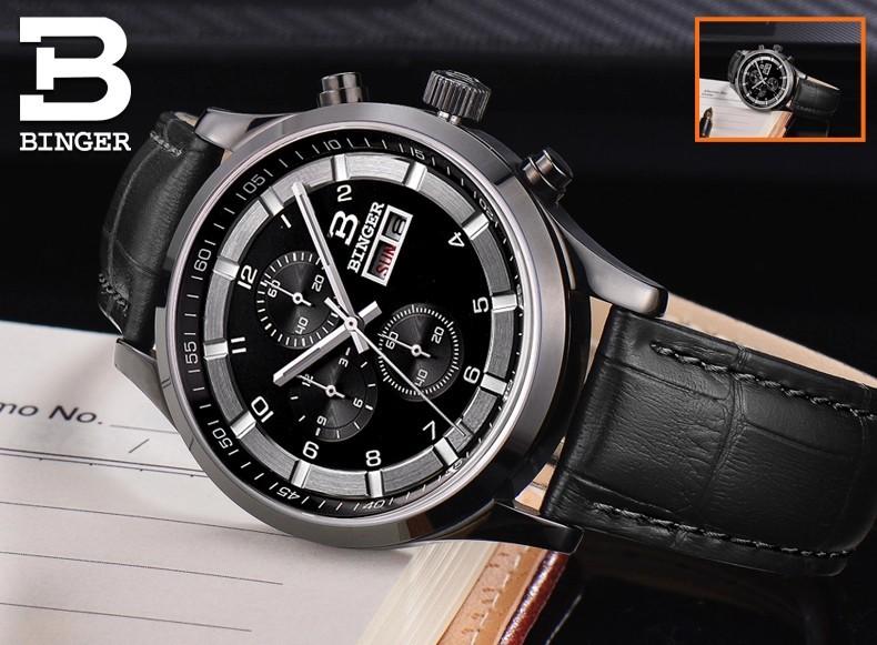 100% Оригинальный Дизайнер Новый Спортивный Хронограф Часы Мужчины Армия Черный Стали Кожаный Бингер Кварц Movt Наручные Часы