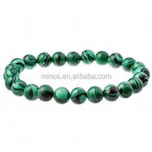 Green Malachite Gem Bead Bracelet For Men 6mm,Stainless Steel Bead Bracelet Wholesale