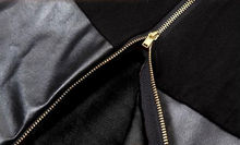 Extended faux leather panel T shirt, Extended long tee with side gold zippers