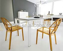 2015 new design White Plastic Design Dining Chair Used Colored Acrylic Louis Ghost Chair