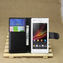 PU Leather flip wallet case cover for Sony Xperia M C1905 C1904 Dual C2004 C2005