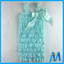Holesale Boutique Stylish Aqua Baby Romper Lace Ruffle Romper For Baby Girls Plain Baby Rompers With Bow