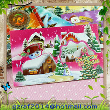 2015 New christmas greeting card ,christmas trees decorating with fragance customized blessing card