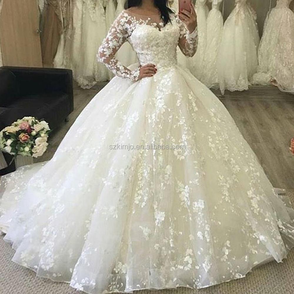 Encaje apliques bola 2017 marfil elegante vestidos de novia de manga