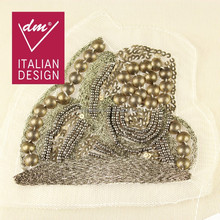 New products golden beaded french lace applique