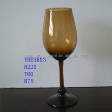 Fancy Dark Amber Wine Glass Stemware Glass