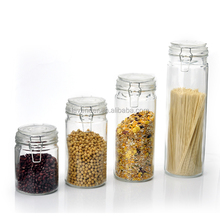 four size tall glass canister sets with metal clip