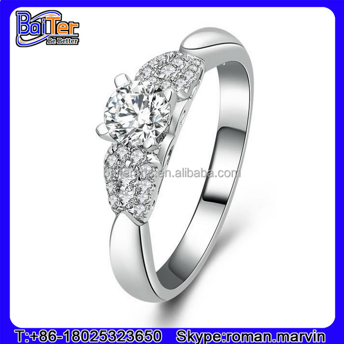 Fashion Jewelry 925 Sterling Silver Low Cost Engagement Rings With Cz Stones