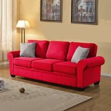 Sofa in Color Dark Grey, Light Grey, Beige, and Red Includes 2 Accent Pillows (Light Grey)